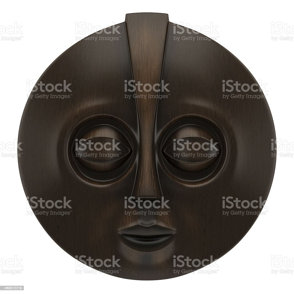 wooden african mask isolated on white background stock photo
