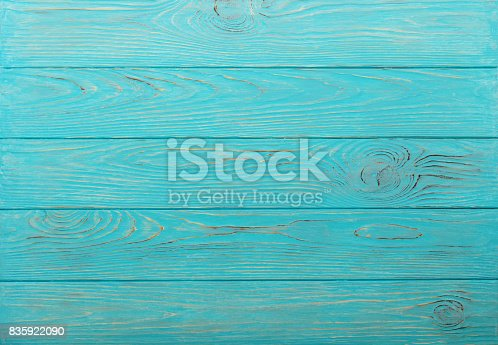 istock Wooden aged background of azure color. 835922090