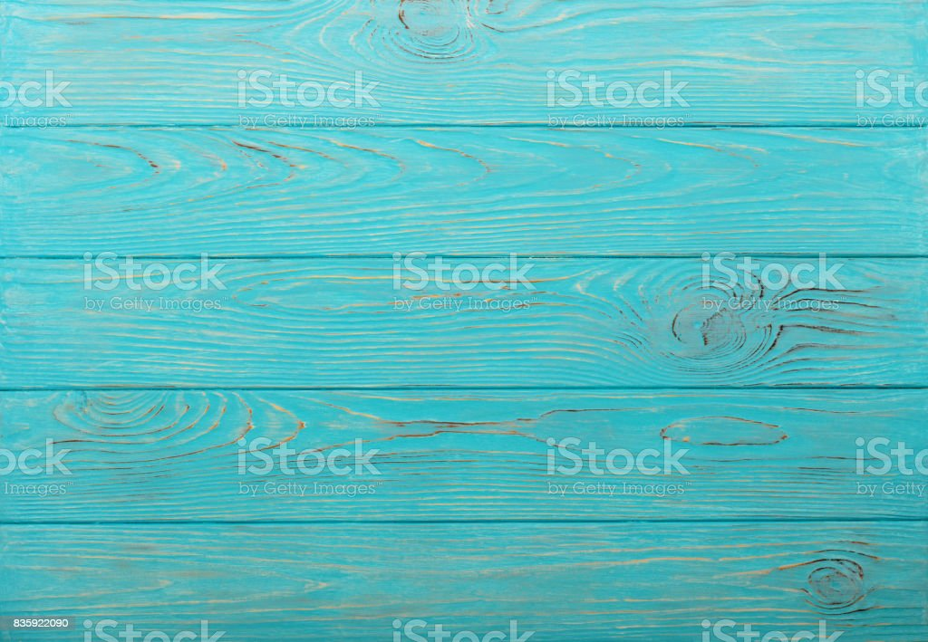Wooden aged background of azure color. stock photo
