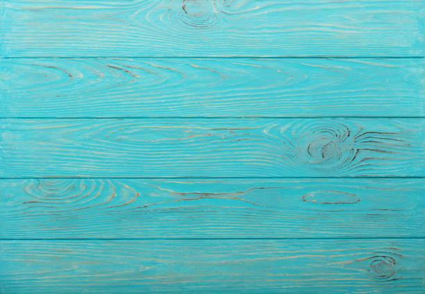 Fond d'ans en bois de couleur bleu azur. - Photo