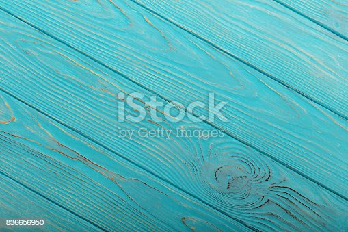 Wooden aged background of azure color. Selective focus.