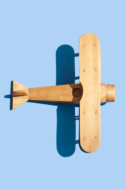 wooden airplane stock photo
