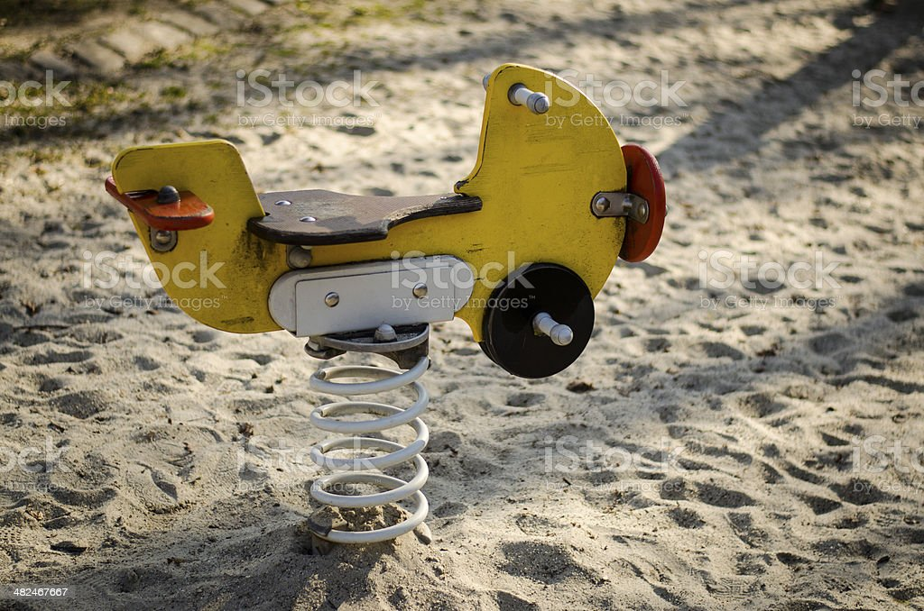 wooden airplane Ride stock photo