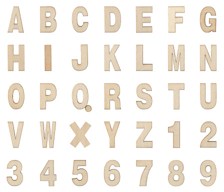 Wooden Alphabet and Numbers Collection , Clipping path , Isolated on white