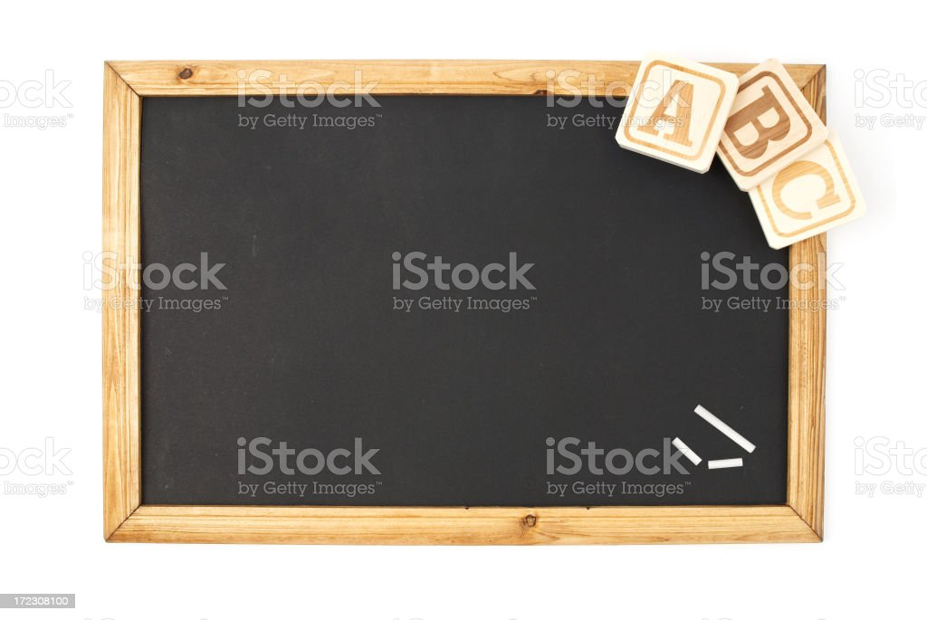 Wooden Alphabet Blocks and Chalkboard royalty-free stock photo