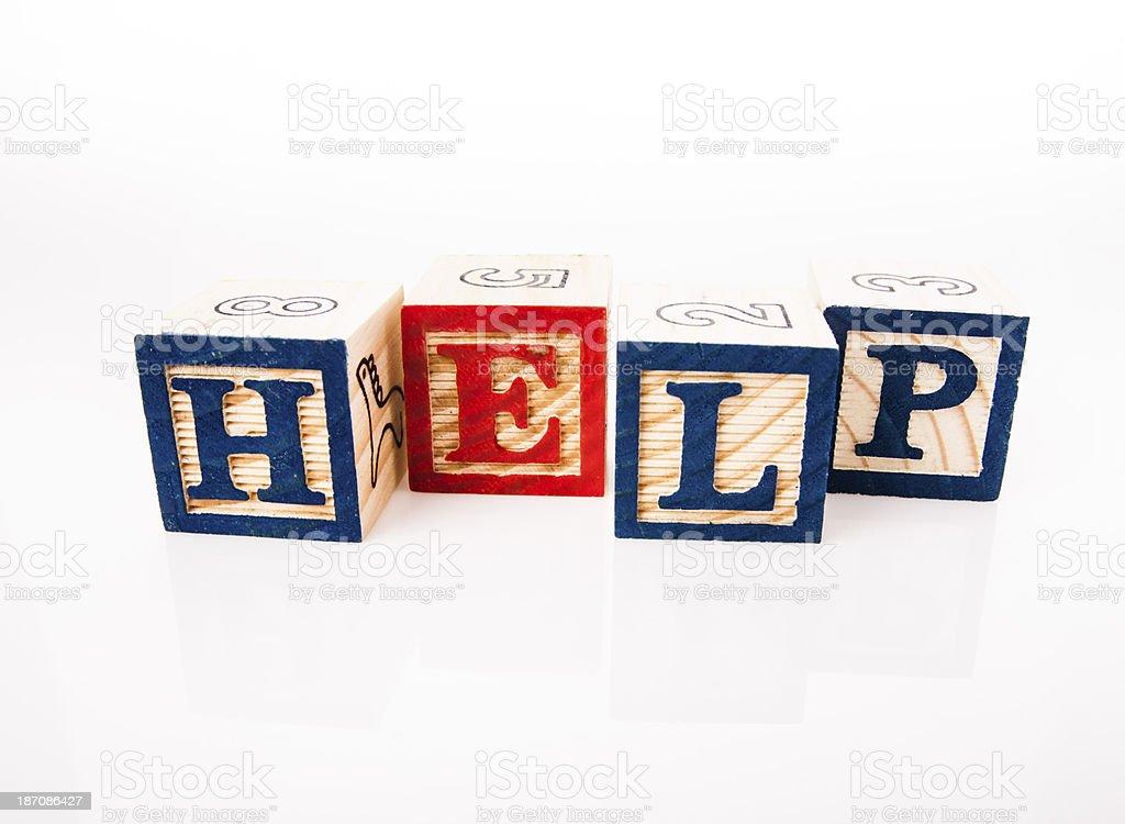 wooden alphabet blocks - HELP royalty-free stock photo