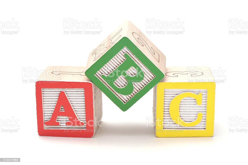 Blocchi alfabeto in legno - foto stock