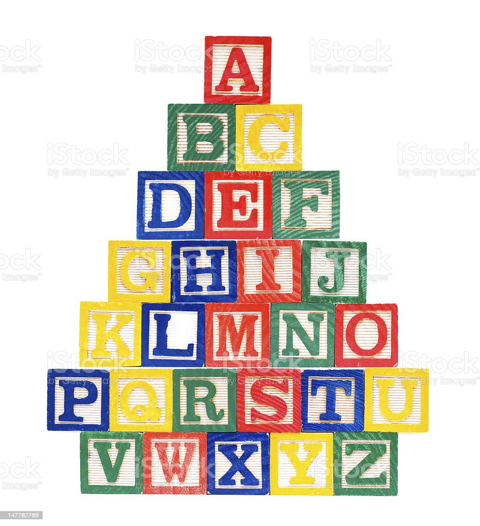 Wooden alphabet blocks stacked in a pyramid stock photo
