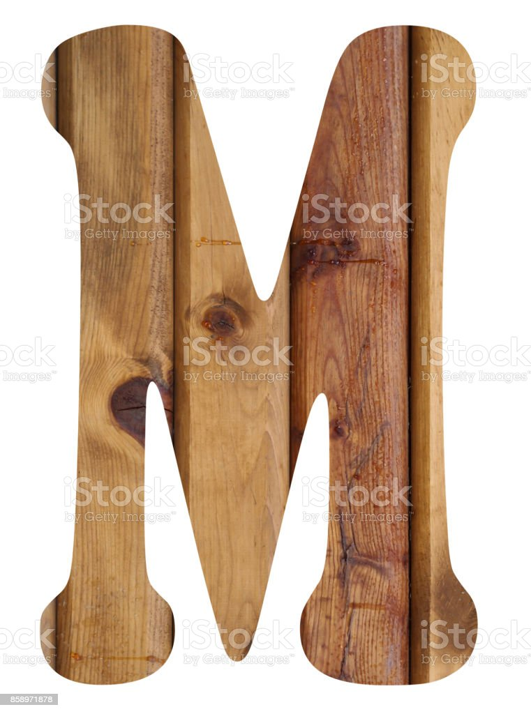 wooden alphabet letter m stock photo