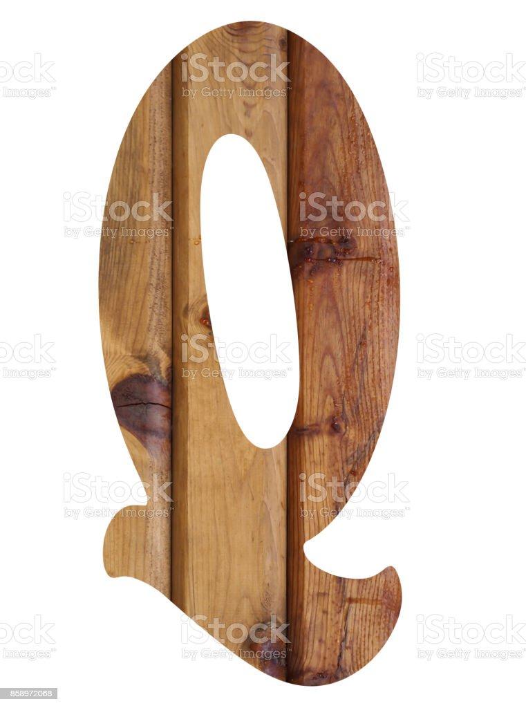 wooden alphabet letter q stock photo