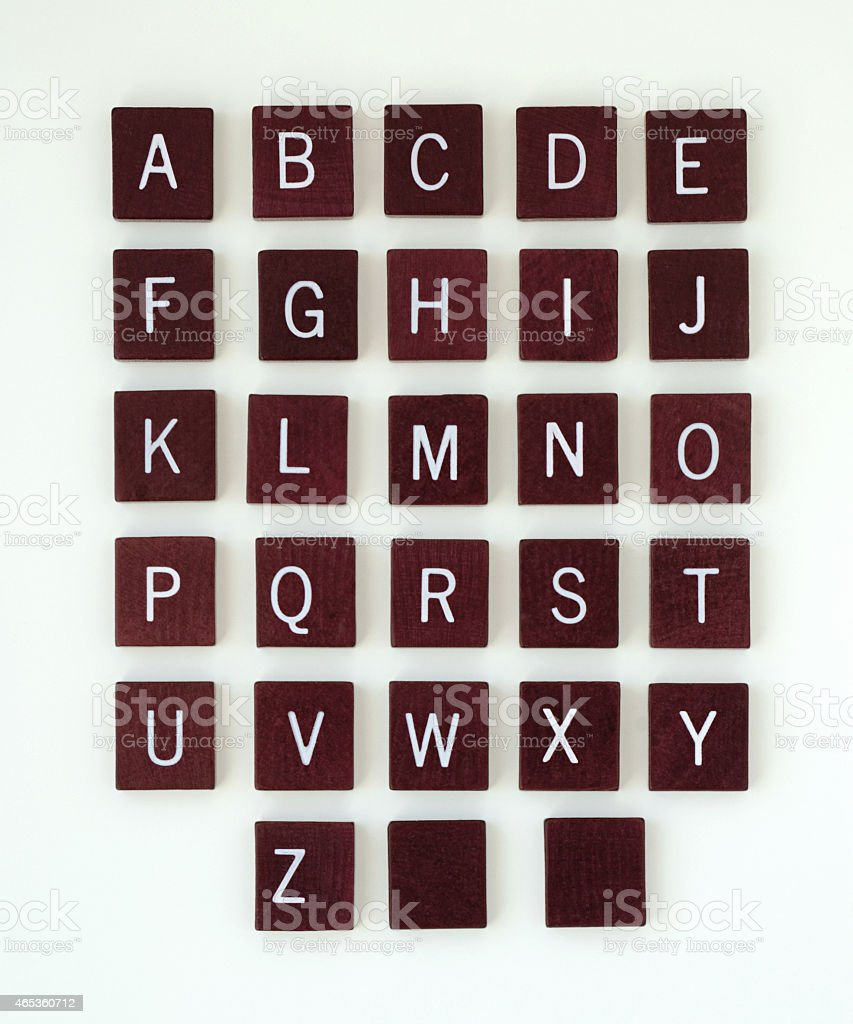 Wooden Alphabet with Blank Tiles stock photo