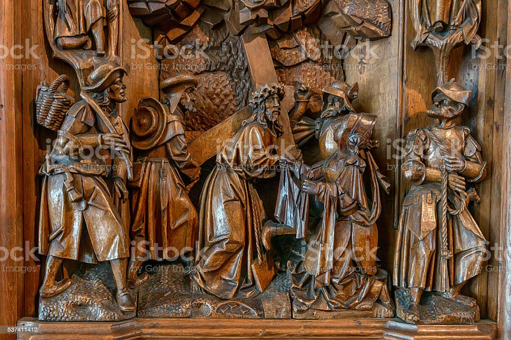 Wooden altar with carvings stock photo