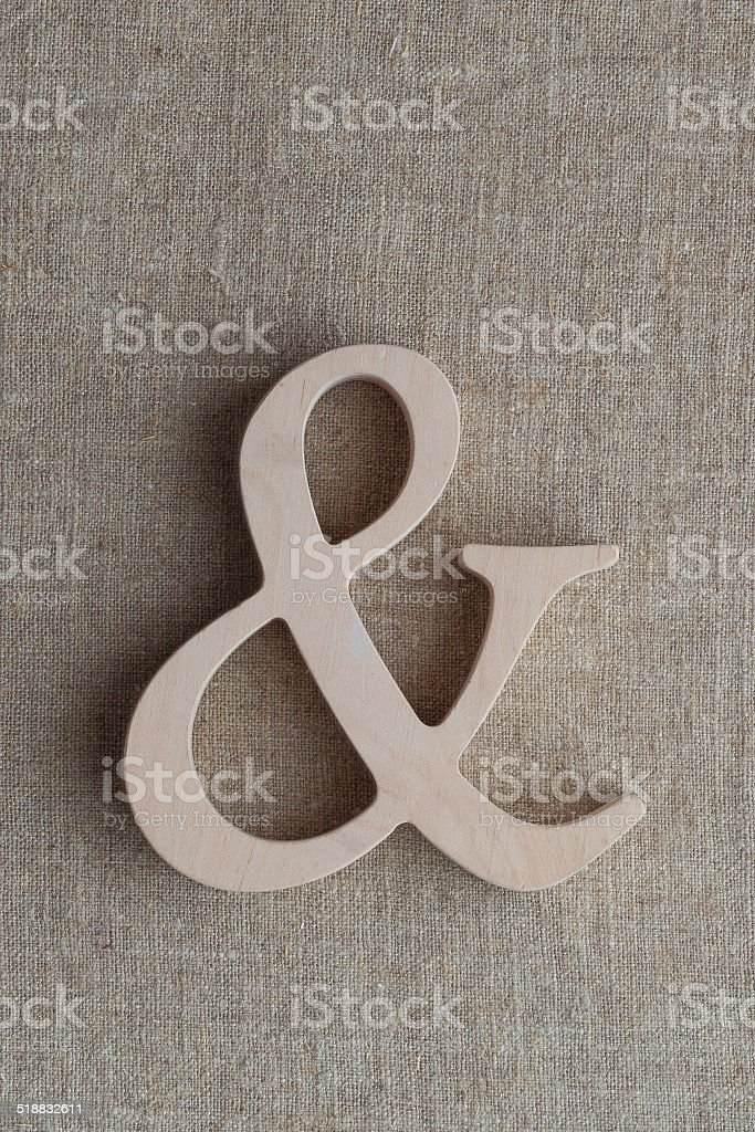 Wooden Ampersand stock photo