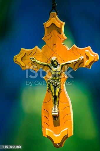 istock Wooden Ancient Crucifix 1191833150