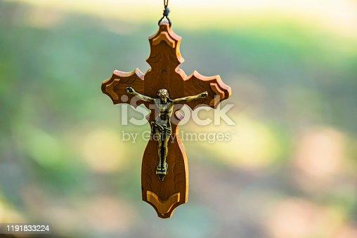 istock Wooden Ancient Crucifix 1191833224