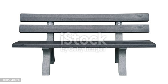 Wooden and dark gray park bench isolated on white background