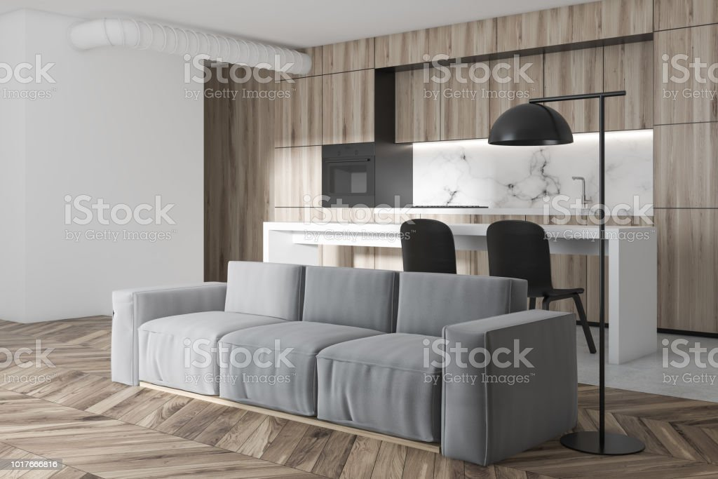 Wooden And Marble Kitchen And Living Room Stock Photo Download Image Now Istock