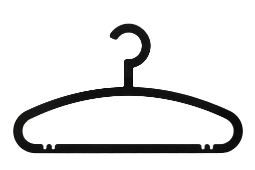 wooden and plastic hangers with a hook for clothes, isolate for clipping on a white background