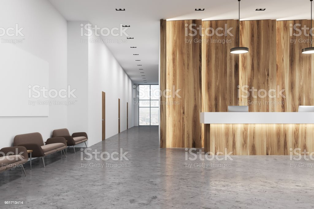 Wooden And White Reception Office Sofas Stock Photo ...