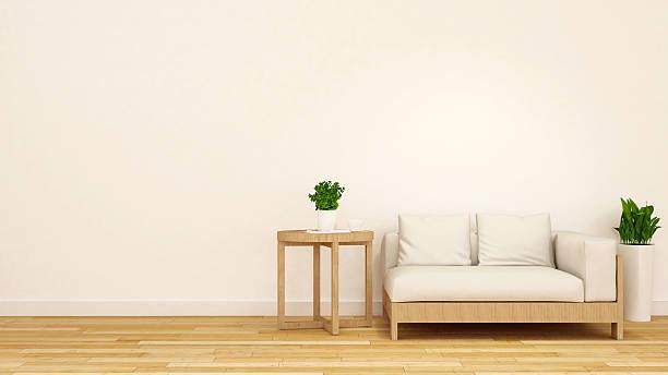 holz und weißen sofa mit kaffeetisch und pflanzen – 3d-abbildung - kleiner couchtisch stock-fotos und bilder