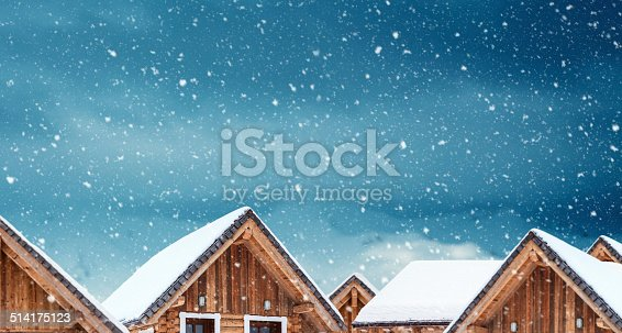 Roof covered with snow on a snowy winter day. Copy space.