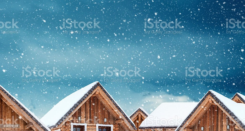 Wooden Apartments In The Mountains stock photo