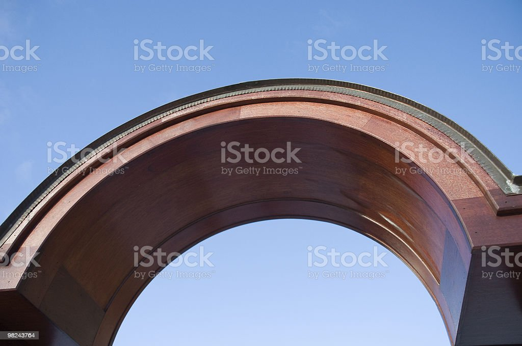 Wooden Arch Against Blue Sky royalty-free stock photo