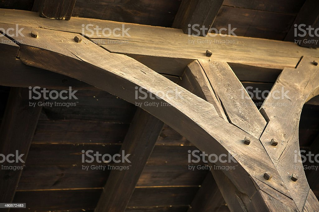 Wooden architectural element rafter stock photo