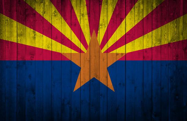 Bandeira do estado do Arizona de madeira - foto de acervo