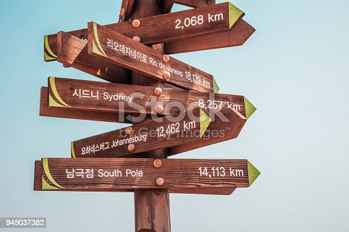 istock Wooden arrow world Landmarks signpost 945037382