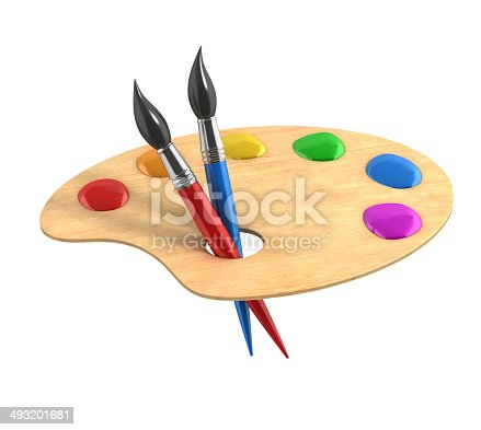 istock wooden art palette with paints and brushes 493201681