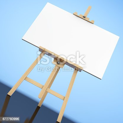istock Wooden Artist Easel with White Mock Up Canvas. 3d Rendering 672760996