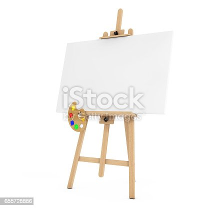istock Wooden Artist Easel with White Mock Up Canvas and Palette. 3d Rendering 655728886