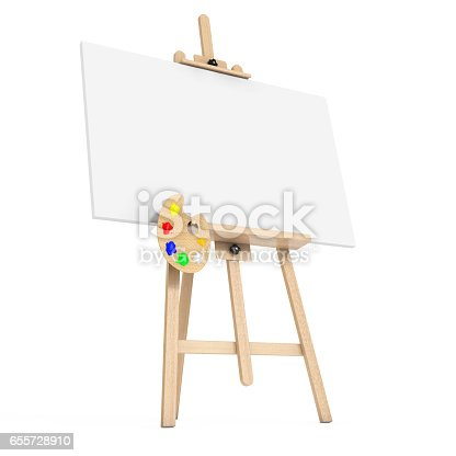 istock Wooden Artist Easel with White Mock Up Canvas and Palette. 3d Rendering 655728910