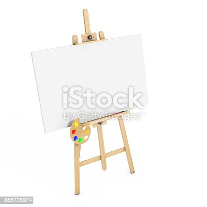 istock Wooden Artist Easel with White Mock Up Canvas and Palette. 3d Rendering 655728974