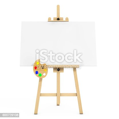 istock Wooden Artist Easel with White Mock Up Canvas and Palette. 3d Rendering 655729108