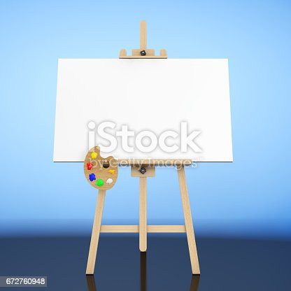 istock Wooden Artist Easel with White Mock Up Canvas and Palette. 3d Rendering 672760948