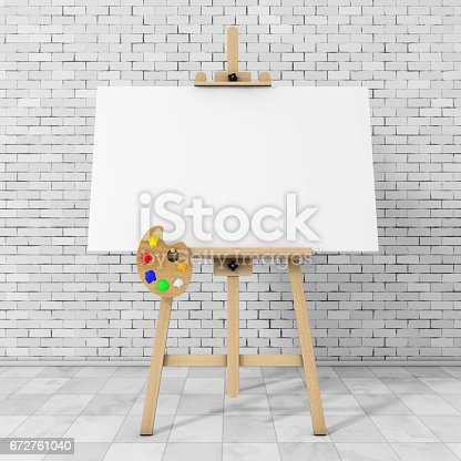 istock Wooden Artist Easel with White Mock Up Canvas and Palette. 3d Rendering 672761040