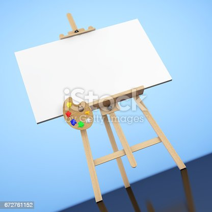 istock Wooden Artist Easel with White Mock Up Canvas and Palette. 3d Rendering 672761152