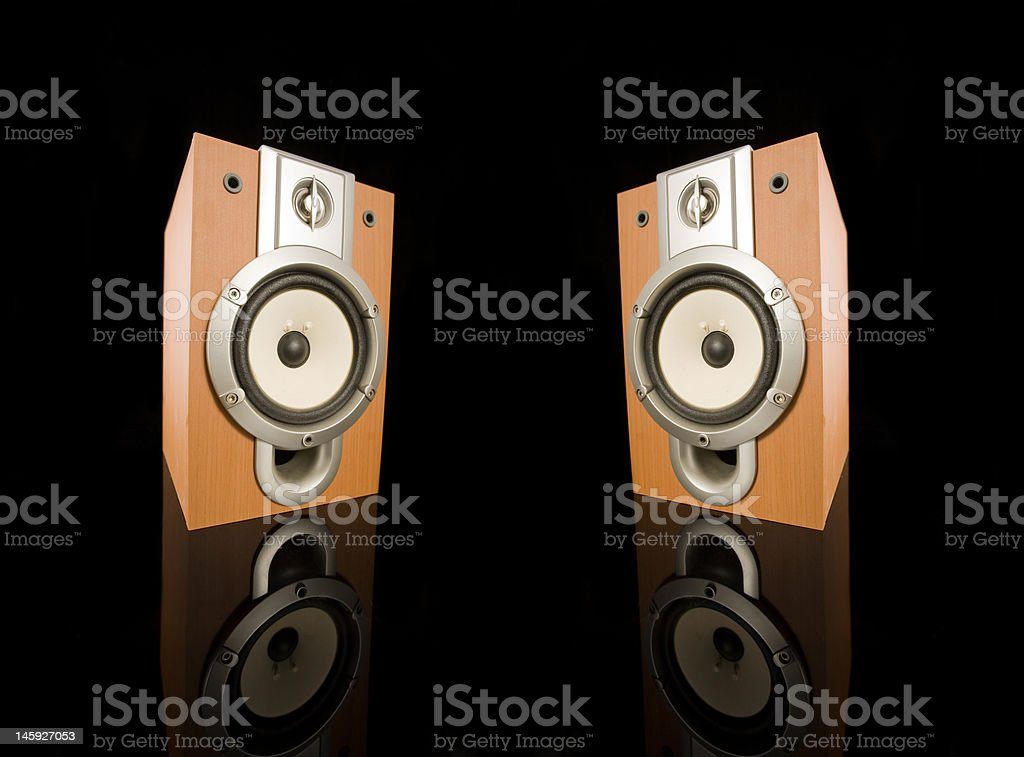 wooden audio speakers on black background royalty-free stock photo