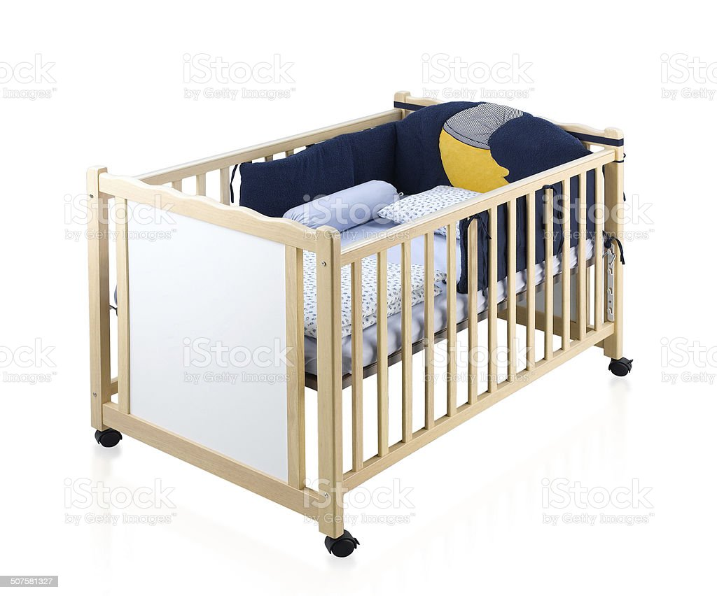 Wooden Baby Cot Isolated On White Stock Photo Download Image Now Istock
