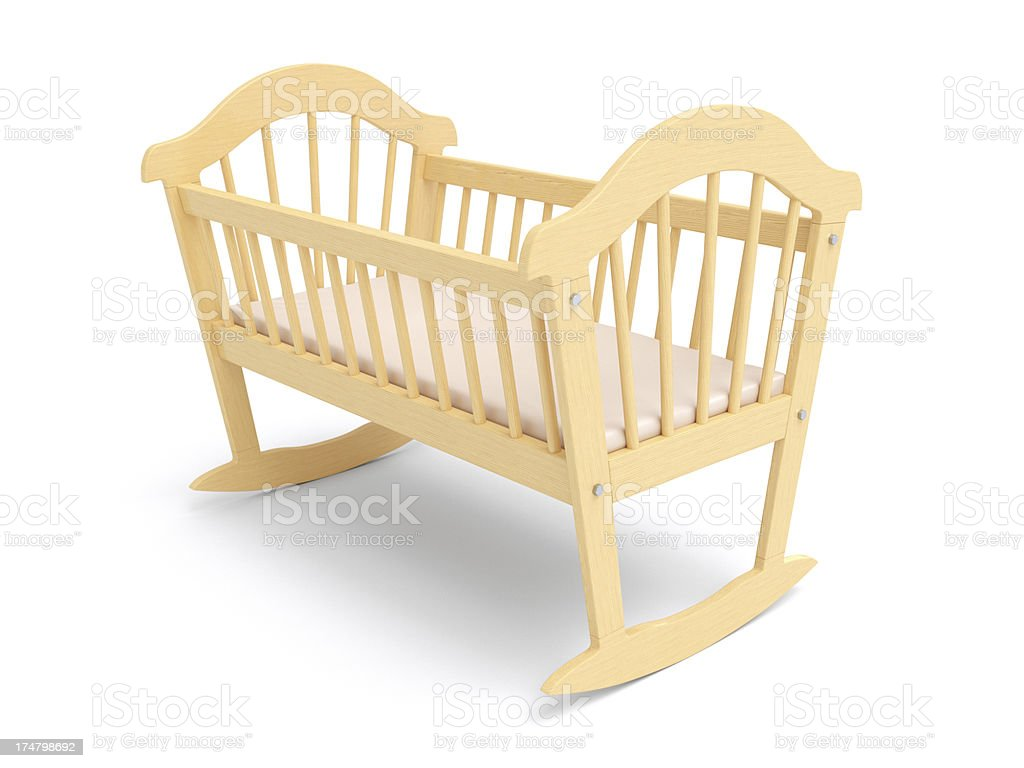 Wooden Baby Crib stock photo