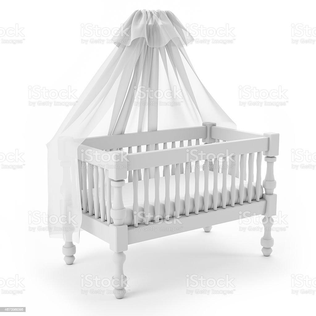 Fotografía de De Cunas De Bebé Con Dosel De Madera Aislada Sobre ...