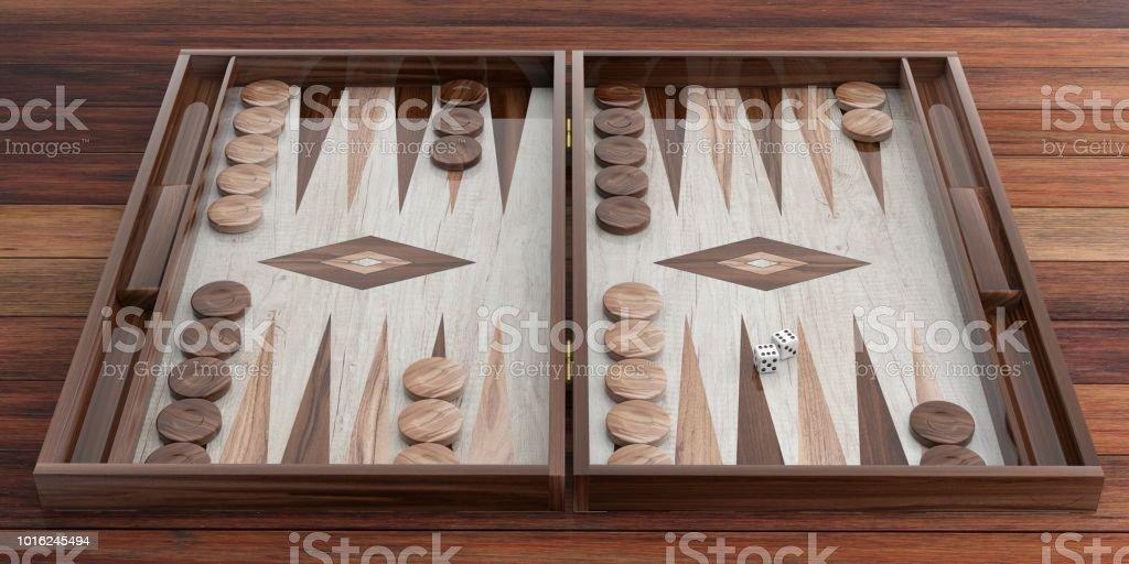 Plateau de backgammon en bois. illustration 3D - Photo