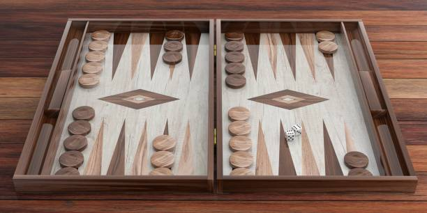 wooden backgammon board. 3d illustration - backgammon stock pictures, royalty-free photos & images