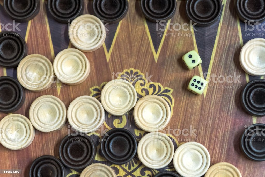 Wooden backgammon. Play a board game. stock photo