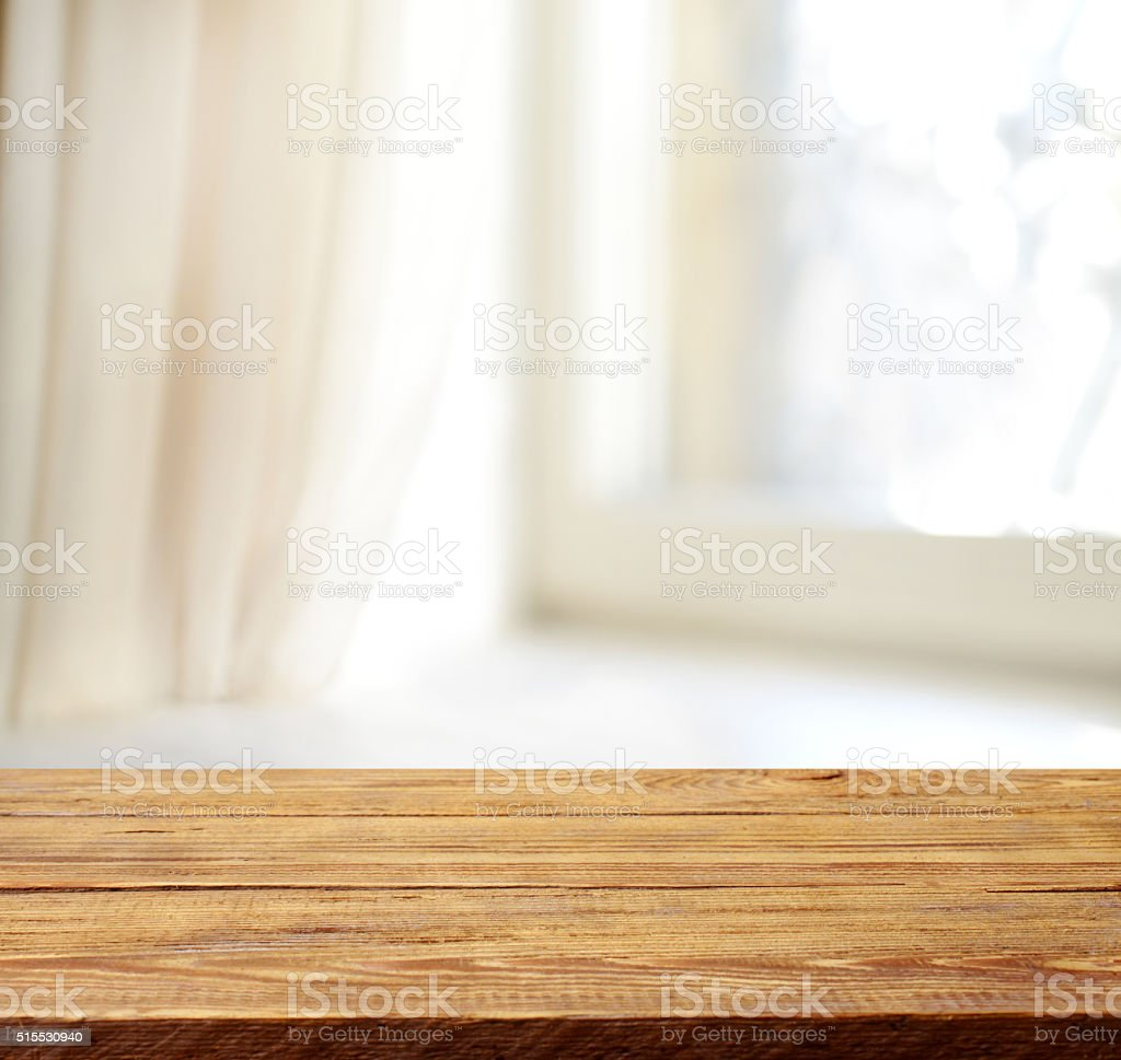 wooden background and defocused Home Interior stock photo