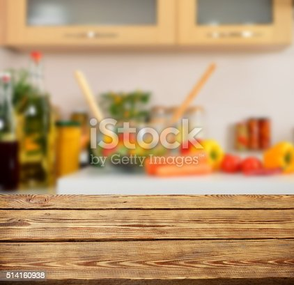 istock wooden background and Defocused kitchen background 514160938