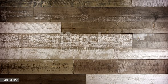 istock Wooden background. Texture with an old, rustic, brown planks 943676058