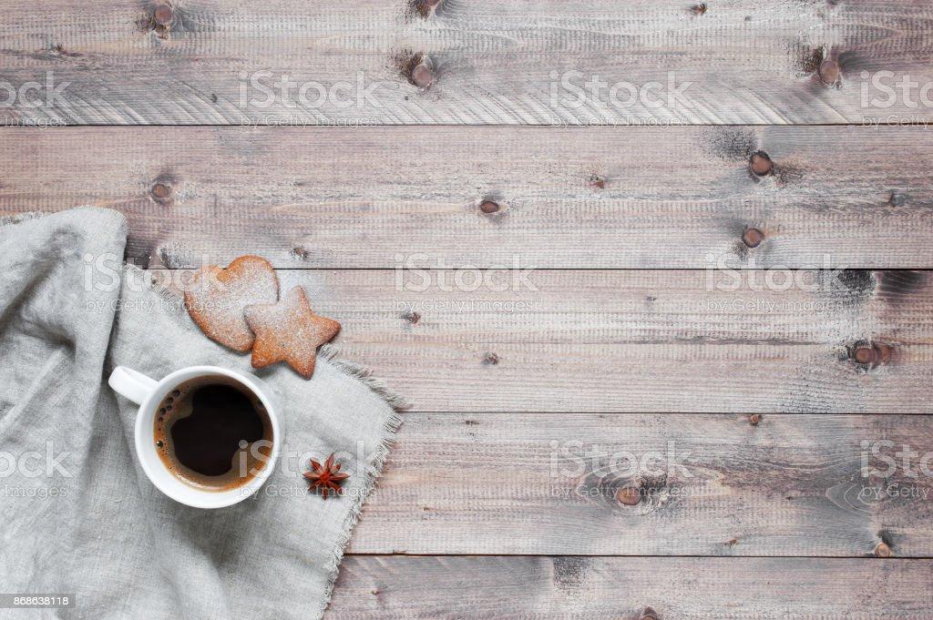 Hölzerne Hintergrund mit Tasse Kaffee – Foto